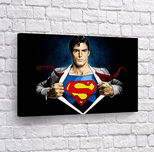 Buy4Wall Clark Kent Transformation to Superman Wall Art Canvas Print Old School Comic Cartoon Super Hero Home Decor Decoration Stretched and Ready to Hang -%100 Hanmade in The USA - 8x12 -