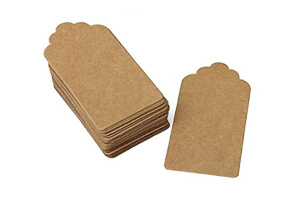 100 Pcs White Kraft Paper Tag Bonbonniere Favor Gift Tags with Heart with Jute Twines (95mm45mm, Brown)