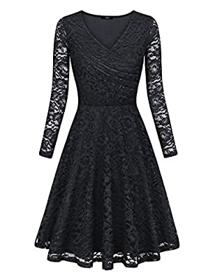 Laksmi Womens Elegant Floral Lace Long Sleeve Fit and Flare A Line Dress