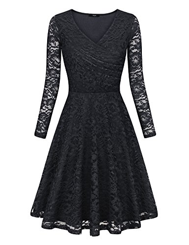 Laksmi Elegant Dress, Elegant Floral Full Lace Long Sleeve Sexy V Neck High Waist Party Work Cocktail Formal Swing Wrap Dress,Black M