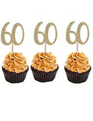 Set of 24 Golden Number 60 Cupcake Toppers 60th Birthday Celebrating Party Decors
