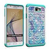 samsung galaxy on7 2016  Compatible Samsung Galaxy J7 Prime Case,On7 2016 Case, G610 Case Tough Dual Layer Rugged Rubber Hybrid Hard Plastic Soft TPU Impact Back Protective Cover Coloured Drawing Bling Jewellery Datura