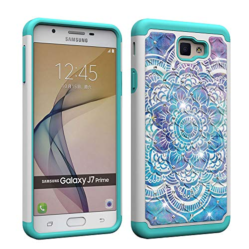 Compatible Samsung Galaxy J7 Prime Case,On7 2016 Case, G610 Case Tough Dual Layer Rugged Rubber Hybrid Hard Plastic Soft TPU Impact Back Protective Cover Coloured Drawing Bling Jewellery Datura