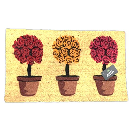 Floor Accent Coir Floral Tree Detail Welcome Doormat 30 by 18 (Roses) (Rose Coir Mat)