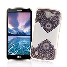 XiaoXiMi LG K4 Case Gel Rubber Silicone Cover for LG K4 Soft Flexible Phone Skin Ultra Slim Smooth Shell Lightweight Protective Bumper Anti-Scratch Anti-Shock Case with Unique Design Pattern - Black Lace