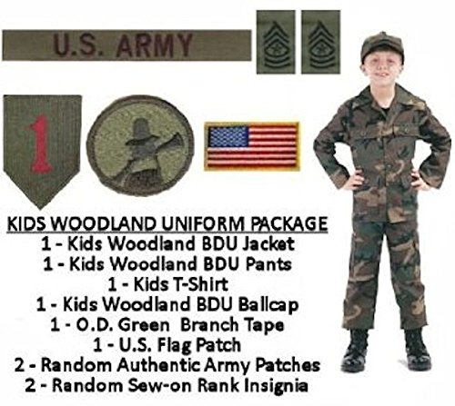 Kids Woodland BDU Military Uniform Army Costume (XL) (Child Green Army Man Costume)