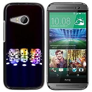 Slim Design Hard PC/Aluminum Shell Case Cover for HTC ONE MINI 2 / M8 MINI Dice Game Neon Disco Bling Poker Numbers / JUSTGO PHONE PROTECTOR