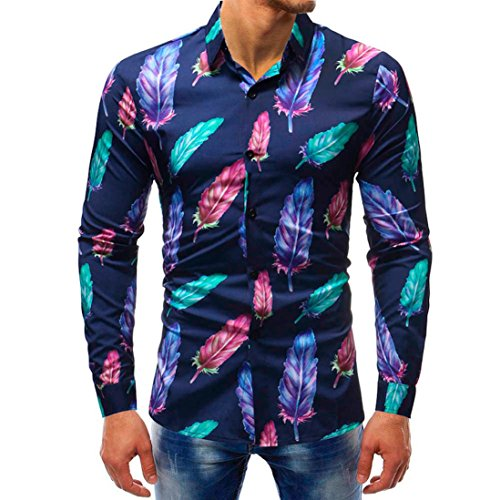 - vermers Mens Button Down Shirts - Men Fashion Printed Blouse Casual Long Sleeve Slim Shirts Tops(4XL, Multicolor1)