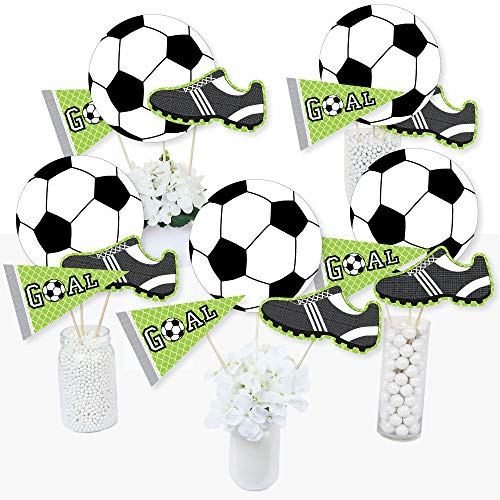 Goaaal - Soccer - Baby Shower or Birthday Party Centerpiece Sticks - Table Toppers - Set of 15