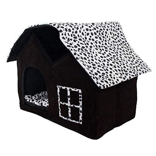 (Dog House, Petforu Soft Plush Luxury British Style Pet Puppy Dog Cat Villa House Bed Cage Nest with PP Cotton Mat Folding Collapsible Removable Details-Black)