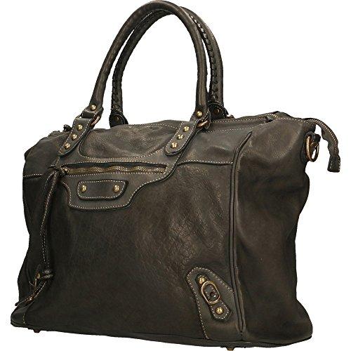 main d'épaule Sac Avec sangle Chicca Vintage à Made Cm Italy Borse in en femme Noir 35x31x19 véritable cuir w5RCRpq