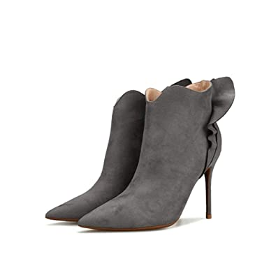 mogeek Botines Mujer Tacon Alto Puntiagudo Botas Comodos Fiesta Zapatos de Tacón de Aguja Alto 10