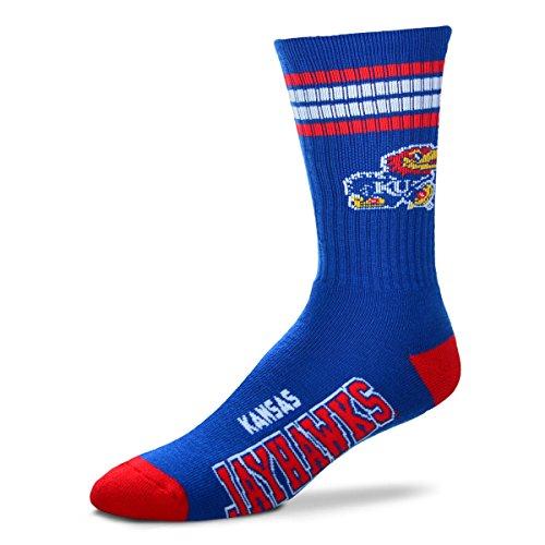 (For Bare Feet NCAA 4 Stripe Deuce Crew Children (Boys/Girls) Socks-Kansas Jayhawks-Size Child (6-11))