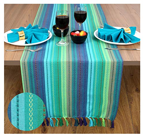 Ramanta Home 2 Pack Salsa Stripe 100% Cotton Table Runner with Decorative Fringes 16x90 Hand Woven by Skilled Artisans - Teal - Runner Woven Hand Table