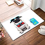 LB Funny Pet Dog Animal Theme Small Shower Carpet, Non Slip Backing Soft Microfiber, Cute Pug Ready for Holiday Vocation Dog Lover Bath Rug Mat 15 x 23 Inches