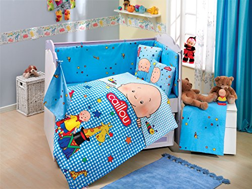 Gold Case Caillou - Licenced Baby Deluxe Duvet Cover Set - 100% Cotton - 4 pieces (Blue) - Made in Turkey by Gold Case