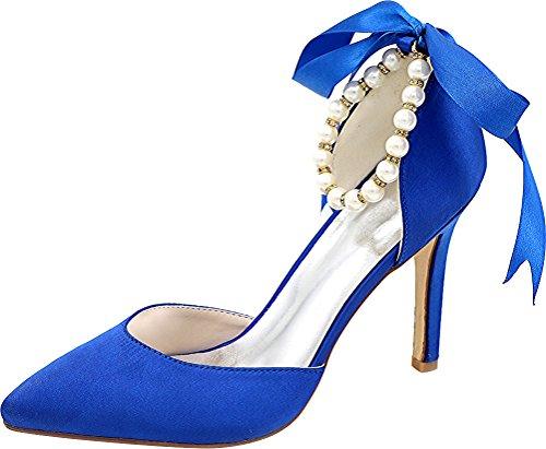 Mid Toe Party Dress Blue Ladies Bride Wedding Bridesmaid Pointed Ankle Heel 37 Strap Noble 0608 5 Pumps 22b Pearl Satin Eu O87wScfq