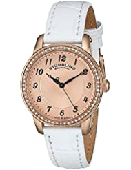 Stuhrling Original Womens 651.03 Symphony Swiss Quartz Crystal Bezel White Leather Watch