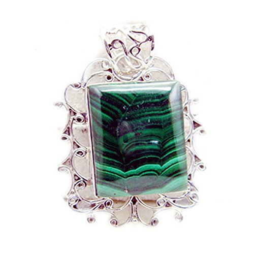 Caratyogi Natural Malachite Necklaces For Women Square Stone Sterling Silver Bezel Style Pendant Charms