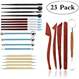 Whitelotous Pack of 14 Metal Pottery Clay Sculpture Handled Hand Crafts Tools with Wooden Handle