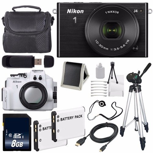 Nikon 1 J4 Mirrorless Digital Camera with 10-30mm Lens (Black) + Nikon WP-N3 Waterproof Housing for Nikon 1 J4 or S2 Camera and NIKKOR 11-27.5mm or 10-30mm Lens + EN-EL22 Replacement Lithium Ion Battery + 8GB SDHC Class 10 Memory Card + Full Size Tripod + Carrying Case + Micro HDMI Cable + SD Card USB Reader + Memory Card Wallet + Lens Cap Keeper + Deluxe Starter Kit 6AVE Bundle