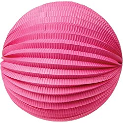 Luna Bazaar Accordion Paper Lantern (12-Inch, Fuchsia Pink) - Chinese/Japanese Hanging Decorations - For Home Decor, Parties, and Weddings