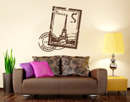 Paris Stamp with Eiffel Tower Wall Decal by Style & Apply - highest quality wall decal, sticker, mural vinyl art home decor - 3922 - Black, 24in x - Wall Stamp Decor