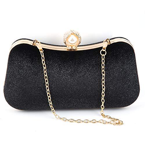 Crossbody Clutch Evening Bag Handbags for Women Formal Classic Clutch Purse Totes Wedding Parites Prom Black Satin Green (Black 1)