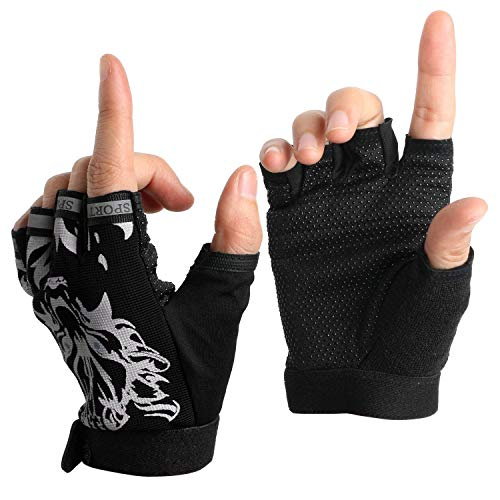 Boy Girl Child Children Kid Half Finger Fingerless Short Shock-absorbing No-Slip Pro Cycling Gloves Mitten for Cycling MTB Exercise Skate Skateboard Roller Skating Other Sports (Black wolf)
