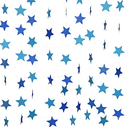 Gender Reveal Party Decorations 2pcs Twinkle, Twinkle Blue Paper Star Garland Star String Baby Shower Decorations, Birthday Decorations, Boy Girl Gender Reveal Party ()