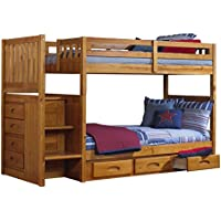 Discovery World Furniture Mission Twin over Twin Staircase Bunk Bed with 3 Drawer Storage, Honey