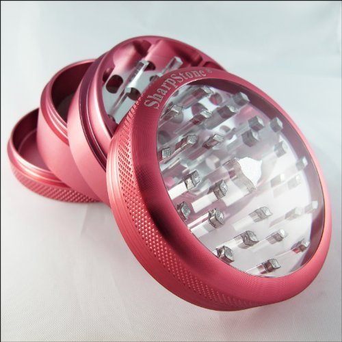 Sharpstone Large Herb Grinder Clear Top 4 Piece Pink and a Cali Crusher Press