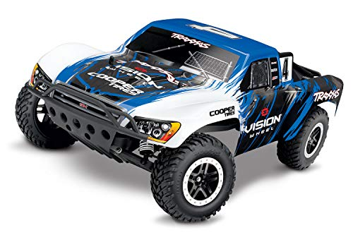 Traxxas Slash 1/10 Scale 2WD Short Course Racing Truck with TQ 2.4 GHz Radio System, Blue/White