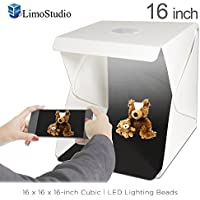 LimoStudio 16-inch Cubic LED Light Foldable & Portable Photo Shooting Tent Box Kit, Including White / Black Background, USB Cable Power, Commercial Product Shoot, Small Medium Size Product, AGG2334