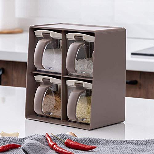 Keuken huishoudelijke vierkante kruidenpot, dubbellaagse kruidendoos, vier compartimenten, keuken opslag Seizoensgebouw…