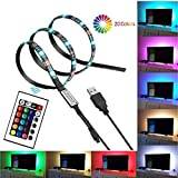 led accent lighting kit - Smartdio Bias Backlight Strip for HDTV USB LED Multi Color RGB Lights Neon Accent Lighting Kit for Flat Screen TV LCD, Desktop PC (20 Multi Colors Reduce eye fatigue and increase image clarity)