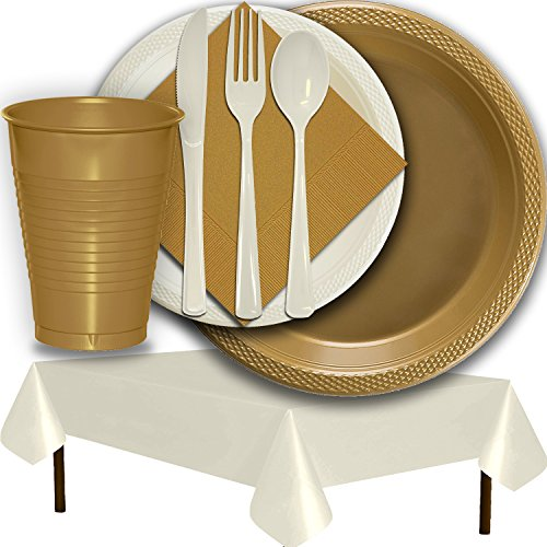 (Plastic Party Supplies for 50 Guests - Gold and Ivory - Dinner Plates, Dessert Plates, Cups, Lunch Napkins, Cutlery, and Tablecloths - Premium Quality Tableware Set)