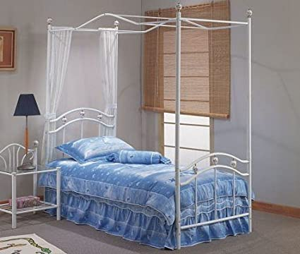 White Metal Canopy Twin Size Bed Rails Set : white metal canopy bed - memphite.com