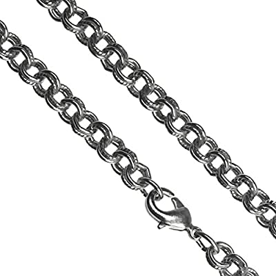 "Antique-Tone Steel Chain Necklace 5mm Dbl Cable 20"" by ugems"