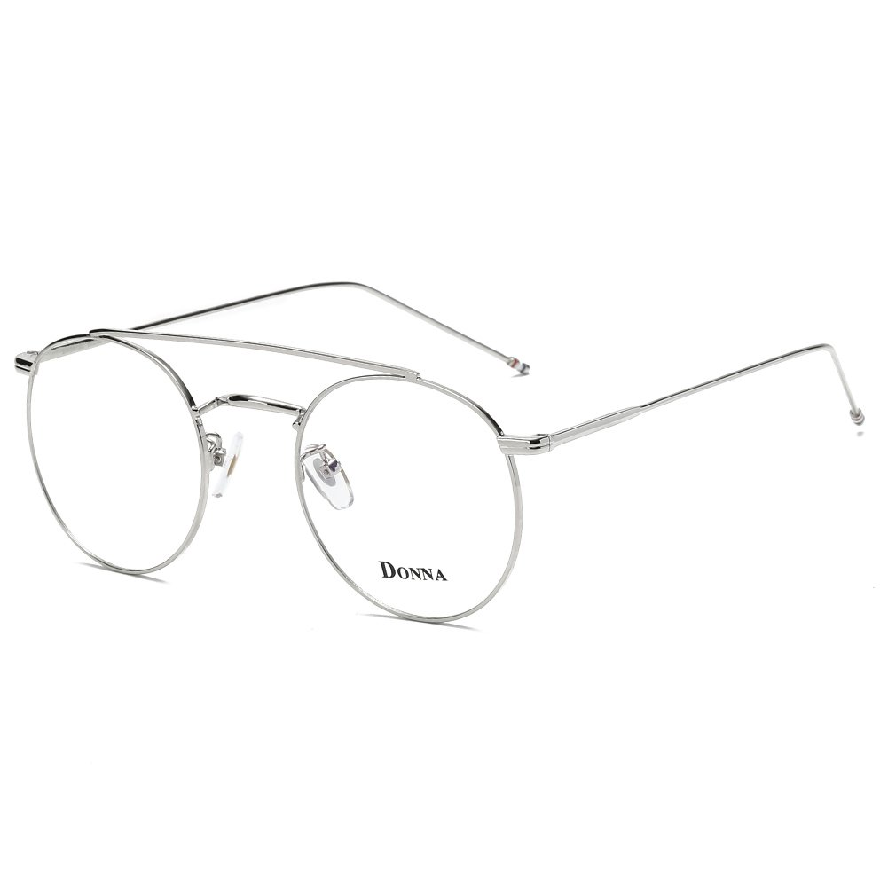 DONNA Stylish Clear Lens Aviator Glasses Circle Frame Blue Light Blocking for Computer DN55FLG-JC