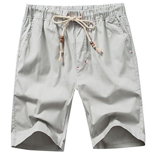 Manwan walk Men's Linen Casual Short 311 (Large, Light Grey) ()