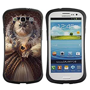 Hybrid Anti-Shock Bumper Case for Samsung Galaxy S3 / Queen Cat Painting