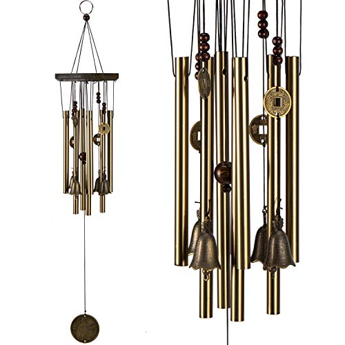 xxschy Retro Wind Chimes, 25 Inches Pure Hand-Made Metal Musical Wind Bells with 8 Bronze Aluminum Tubes, Mobile Wind Catcher Romantic Wind-Bell for Home, Party, Festival Decor, Garden Decoration ()