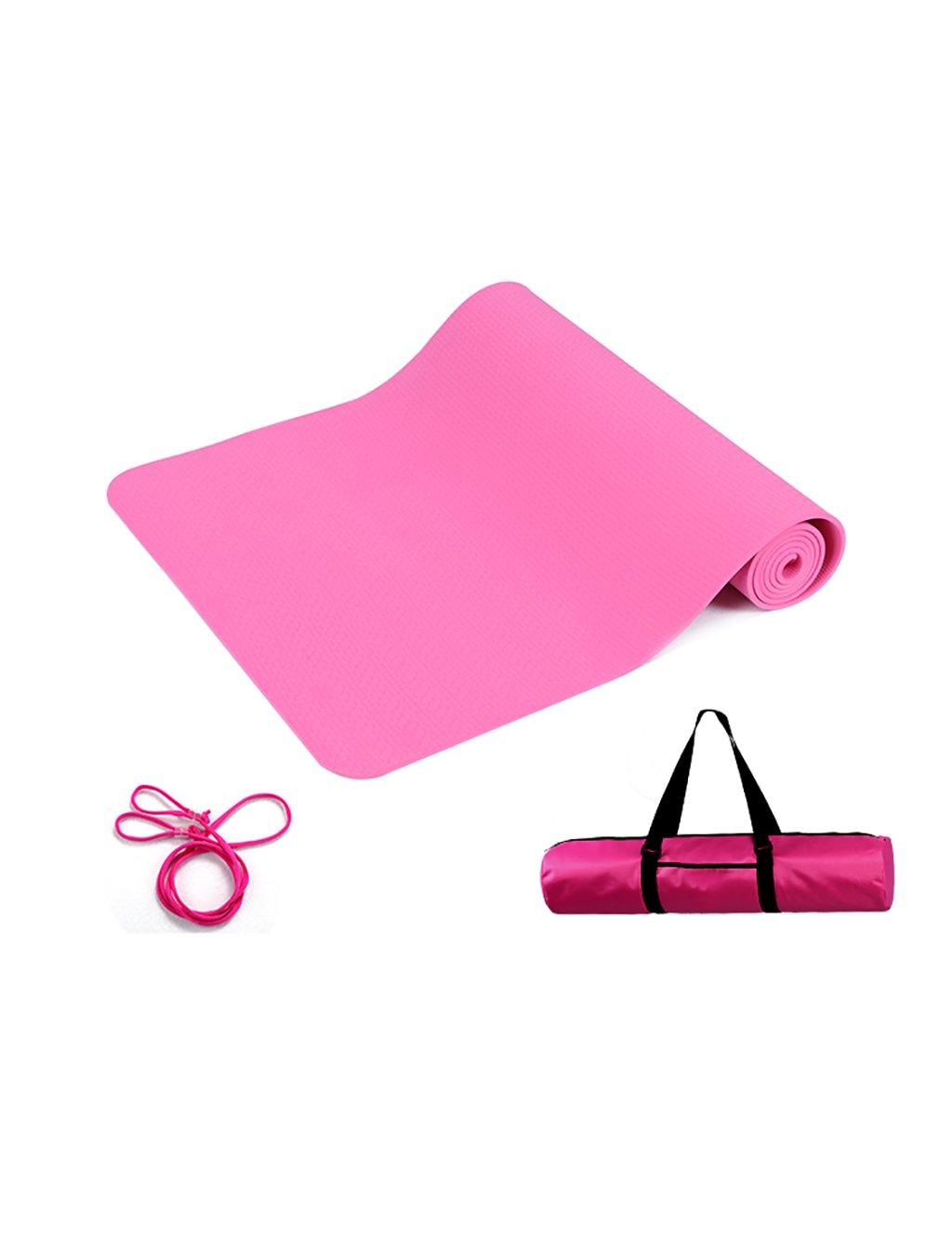 rose LWH  183cm61cm0.6cm YJD Tapis de Yoga antidérapant de Tapis de Yoga de Tapis d'exercice de Tapis de Yoga avec Une Corde et Paquet imperméable de Haut Niveau 6mm