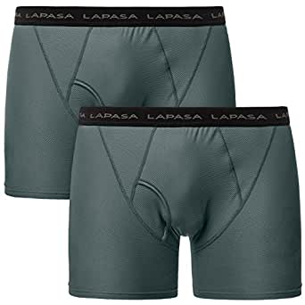 Lapasa 2 Pack Men's Travel Boxer Brief Anti-Microbial Breathable Mesh Performance Outdoor Underwear M16 (Small, Gray)