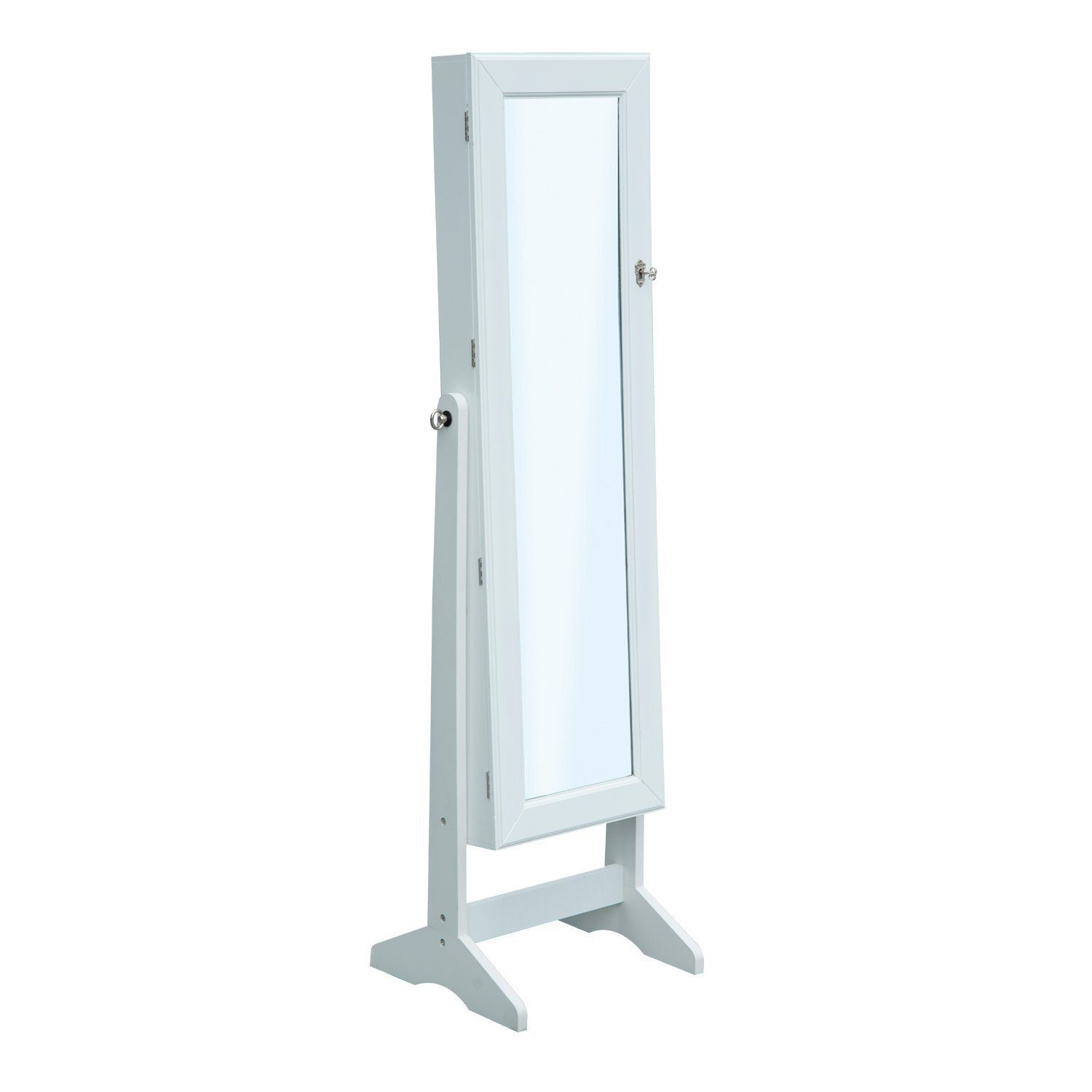 HOMCOM Mirrored Jewelry Cabinet Armoire Stand Organizer for Rings Earrings Bracelets Lockable (White) Aosom Canada