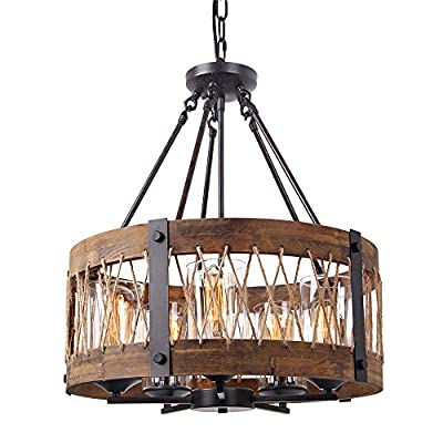 Anmytek Round Wooden Chandelier with Clear Glass Shade, Rope and Metal Pendant, 5 Lights Decorative Lighting Fixture, Retro Rustic Antique Ceiling Lamp