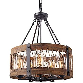 Iron And Wood Chandelier Y Decor Mua 6 Light Brown Wood
