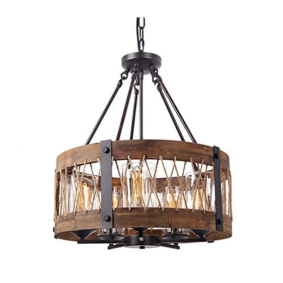 """Anmytek Round Wooden Chandelier with Clear Glass Shade Rope and Metal Pendant Five Decorative Lighting Fixture Retro Rustic Antique Ceiling Lamp, C0003 Brown - HEIGHT ADJUSTABLE CORD MOUNTED: Includes Rubber insulated adjustable cord with a 82 inches max height. 20 INCH BIG WOOD FRAME: 20"""" diameter x 10.25"""" high, round clear glass cover with exposed decorative hardware. Perfect for kitchens, over counters and islands, Bar, Cafe and in hallways. CANOPY: 5 """" round canopy with a 60"""" chain gives maximum flexibility in hanging heights. Perfect for sloped ceilings and compatible with most junction boxes. - kitchen-dining-room-decor, kitchen-dining-room, chandeliers-lighting - 518UaxQszwL. SS570  -"""