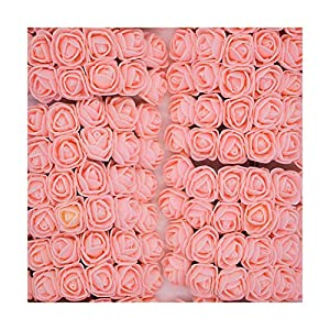 HANBINGPO 36/72/144pcs 2cm Decorative Teddy Bear Rose PE Foam Artificial Flower Bouquet for Home Wedding Decoration DIY Wreath Fake Flower,Peach,12pcs 87
